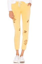 Monrow Sporty Distressed Sweat Yellow