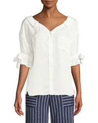 Laundry By Shelli Segal Button Front Ruffle Sleeve Top White