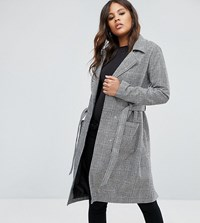 Missguided Tall Check Tie Waist Trench Coat Multi