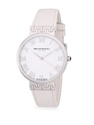 Bruno Magli Stainless Steel And Leather Strap Watch Silver