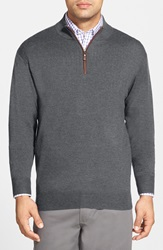 Peter Millar Leather Trim Quarter Zip Pullover Sweater Charcoal