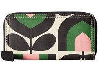 Orla Kiely Matt Laminated Stripe Tulip Print Big Zip Wallet Spring Wallet Handbags Green