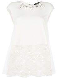Twin Set Embellished Lace Panel T Shirt White