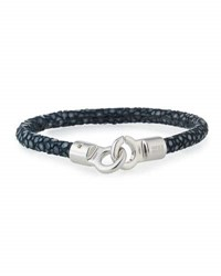 Brace Humanity Men's Stingray Wrap Bracelet Navy Silver
