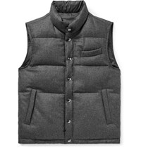 Thom Sweeney Reversible Wool And Shell Down Gilet Gray