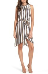 Leith Sleeveless Belted Tunic Ivory Graphic Stripe