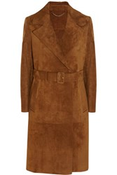 Burberry Fringed Suede Trench Coat Camel