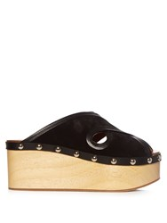 Isabel Marant Zipla Cross Strap Suede Wedges Black