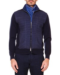 Stefano Ricci Croc Front Full Zip Sweater Jacket Blue Brown