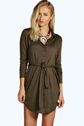Boohoo Button Through Collar Shirt Dress Khaki