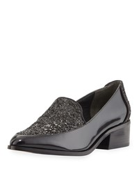 Adrianna Papell Kane Glitter Leather Loafer Black