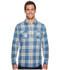 Quiksilver Moon Tides Long Sleeve Flannel Shirt Estate Blue Men's Long Sleeve Button Up Navy