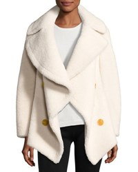 Burberry Teddy Shearling Fur Pea Coat White