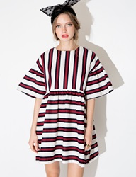 Pixie Market Red And Navy Striped Babydoll Dress