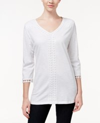 Jm Collection V Neck Crochet Trim Tunic Only At Macy's Bright White