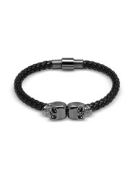 Northskull Black Nappa Leather W Gunmetal Twin Skull Bracelet