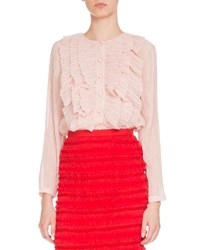 Givenchy Long Sleeve Ruffled Georgette Blouse Light Pink