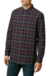 Men's Topman Slim Fit Long Sleeve Tartan Plaid Shirt