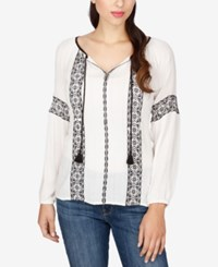 Lucky Brand Embroidered Tunic Lucky White