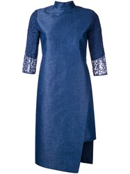 Taro Horiuchi Mandarin Neck Asymmetric Dress Blue