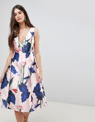 Ax Paris V Neck Floral Prom Dress Pink