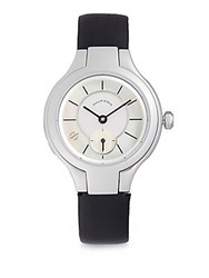 Philip Stein Teslar Prestige Mother Of Pearl Stainless Steel And Leather Strap Watch Black