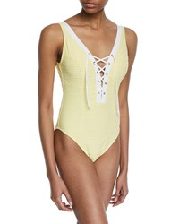 Letarte Lace Up One Piece Swimsuit Yellow
