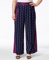 Jessica Simpson Plus Size Kegan Belted Geo Print Palazzo Pants Eclipse Tangier