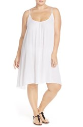 Plus Size Women's Elan Scooped Back Cover Up Slipdress White
