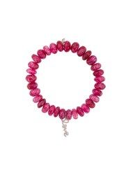 Sydney Evan 14Kt White Gold Diamond Love Charm Fuchsia Beaded Bracelet Pink