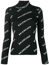 Balenciaga Alllover Logo Open Back Sweater Black