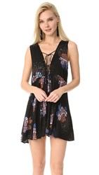 Free People Lovely Day Printed Tunic Dress Black