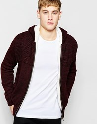 New Look Hooded Cardigan In Burgundy