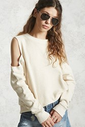 Forever 21 French Terry Open Shoulder Top Cream