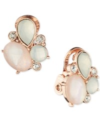 Anne Klein Stone And Crystal Cluster Stud Clip On Earrings Rose Gold