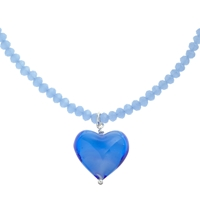 Martick Murano Glass Heart Necklace Blue