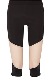 Lna Division Cropped Mesh Paneled Stretch Jersey Leggings Black