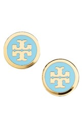 Tory Burch Women's Logo Stud Earrings Turquoise Tory Gold