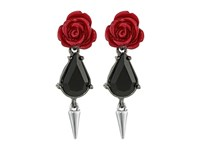 French Connection Rose Dagger Drop Earrings Hematite Silver Burgundy Earring Red