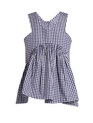 Teija V Neck Sleeveless Cotton Gingham Top Blue White
