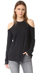 Zoe Karssen Distressed Cold Shoulder Tee Caviar