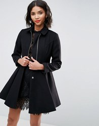 Asos Swing Coat With Full Skirt And Zip Front Black