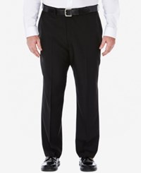 Haggar Men's Big And Tall Stria Classic Fit Eclo Flat Front Dress Pants Black