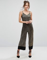 Warehouse Metallic Cami Plisse Jumpsuit Black