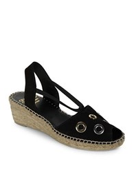 Andre Assous Grommet Accented Leather Espadrilles Slingback Sandals Black