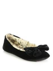 Kate Spade Scarlet Velvet And Faux Fur Slippers Black