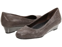 Trotters Lauren Dark Grey Suede Patent Leather Women's Wedge Shoes Gray