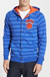 Mitchell And Ness 'New York Knicks' Stripe Button Front Jersey Hoodie Blue