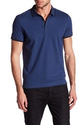 Kenneth Cole Contrast Trim Polo Blue
