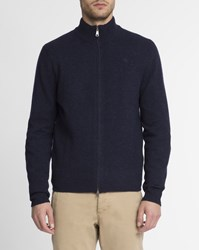 Hackett Navy Blue Contrast Elbow Patch Zip Up Logo Cardigan